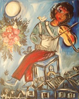 Painting - Chagall Inspired Blue Fiddler