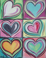 Painting - Kandinsky Inspired Hearts 2